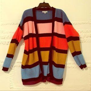 Oversized striped cardigan